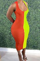 Orange Fashion Double Spliced Tank Bobycon Dress PU6088-2