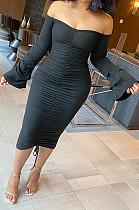 Black Sexy Ruffle Fold Flare Sleeve Boob Tube Top Dress SMD9003-2
