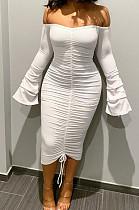 White Sexy Ruffle Fold Flare Sleeve Boob Tube Top Dress SMD9003-1