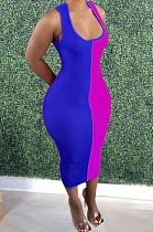 Blue Fashion Double Spliced Tank Bobycon Dress PU6088-3