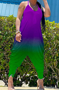 Gradient Purple Green Women Sexy Gradient Printing Casual Jumpsuits PY826-3