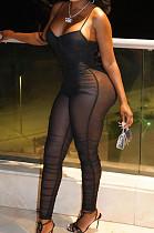 Black Sexy Fashion Net Yarn Sling Slim Fitting Two Piece PU6083
