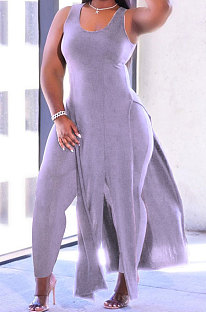 Women Pure Color Sexy Sleeveless Dress Plus Pants Sets HYM86810