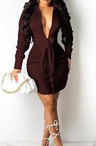 Iiver-Coloured Fashion Cute The Glossy Bind Shirt Dress MTY6537-3