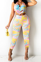 Yellow Color Women Ring Sexy Hollow Out PrintingBodycon Jumpsuits PY0830-2