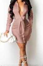 Pink Purple Fashion Cute The Glossy Bind Shirt Dress MTY6537-4