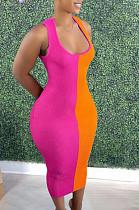 Pink Fashion Double Spliced Tank Bobycon Dress PU6088-1