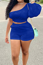 Blue Casual Puff Sleeve One Shoulder Shorts Two Piece YR8086-3