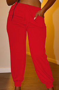 Red Euramerican Women Pure Color Casual Plus Size Pants PY821-1