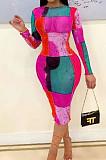 Rose Red  Fashion Digital Printing Net Yarn Long Sleeve Dress ORY5197-3