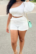 White Casual Puff Sleeve One Shoulder Shorts Two Piece YR8086-1