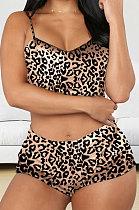 Gold Leopard Women Nightwear Condole Belt Printing Shorts Sets Q888-1