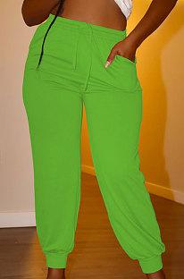Light Green Euramerican Women Pure Color Casual Plus Size Pants PY821-4