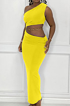 Yellow Summer Inclined Shoulder Tank Long Skirts Sets YC8029-3