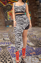 White Euramerican Women Fashion Sexy Stripe Printing Skirts Sets PY819-1