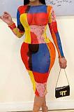 Red Blue Fashion Digital Printing Net Yarn Long Sleeve Dress ORY5197-1