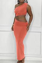 Orange Summer Inclined Shoulder Tank Long Skirts Sets YC8029-4