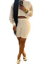 White Euramerican Women Pure Color Net Yarn Spliced Lantern Sleeve Five Minute Shorts Sest Q902-2