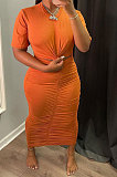 Women Sexy Pure Color Shirred Detail Short Sleeve Long Dress NRS8077