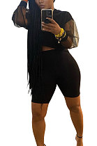 Black Euramerican Women Pure Color Net Yarn Spliced Lantern Sleeve Five Minute Shorts Sest Q902-1