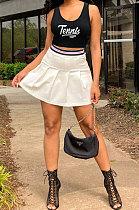 Black White Fashion Tennis SlimFitting Sport Vest Skirts Sets PY818-1