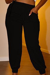 Black Euramerican Women Pure Color Casual Plus Size Pants PY821-2