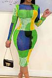 Green Blue Fashion Digital Printing Net Yarn Long Sleeve Dress ORY5197-2