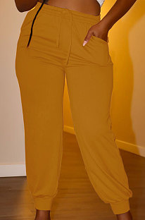 Earth Yellow Euramerican Women Pure Color Casual Plus Size Pants PY821-3