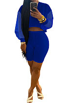 Blue Euramerican Women Pure Color Net Yarn Spliced Lantern Sleeve Five Minute Shorts Sest Q902-3