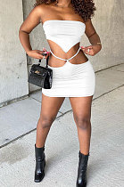 White Women Chest Wrap Triangular Bandage Hollow Out Sexy Skirts Sets Q889-2