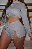 Gray Women Elastic Band Autumn Winter Long Sleeve HoodiesTop Sports Casual Shorts Sets NK255-4