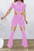 Pink Purple Women Short Sleeve Hole Pants Sets BYL9030-4