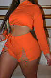 Orange Women Elastic Band Autumn Winter Long Sleeve HoodiesTop Sports Casual Shorts Sets NK255-2