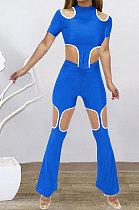 Blue Women Short Sleeve Hole Pants Sets BYL9030-3