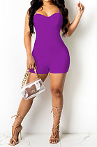Purple Women Sexy Pure Color Condole Belt Zipper Double Pocket Romper Shorts MOL166-5