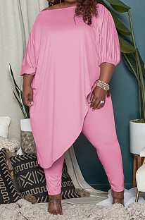 Pink Big Yards Loose Pure Color Inclined Shoulder Spring Autumn Two Piece QSS51023-3