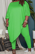 Neon Green Big Yards Loose Pure Color Inclined Shoulder Spring Autumn Two Piece QSS51023-5
