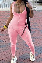 Pink Sexy Casual Pit Bar Bodycon Jumpsuits MLL174-3
