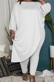 White Big Yards Loose Pure Color Inclined Shoulder Spring Autumn Two Piece QSS51023-2