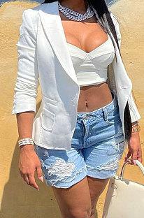 White Euramerican Women Pure Color Pocket Button Business Suit Coat AA5263-1