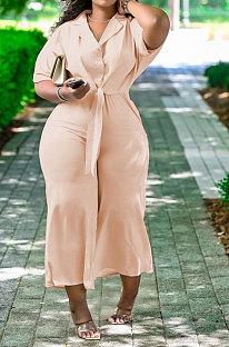 Apricot Women Pure Color Casual Pants Sets QHH8656-1
