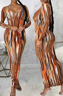 Brown Fashion Digital Print Long Dress SMR10302-2
