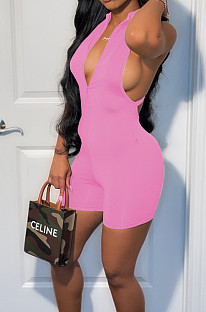 Pink Sexy Naked Cross Tank Jumpsuits WM2612-3