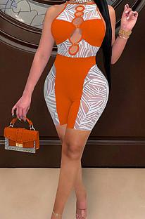 Orange Euramerican Spliced Sleeveless Fashion Casual Shift Jumpsuits SZS8077-4