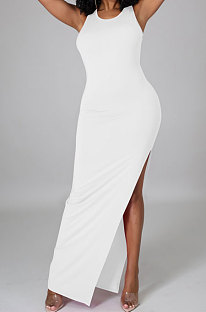 White Pure Color Sexy Sleeveless Open Fork Back Hollow Out Long Dress JP1046-3