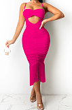 Rose Red Pure Color Fashion Women Sexy Condole Belt Chest Wrap Hollow Out Tassel Midi Dress XZ5225-2