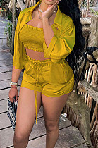 Yellow High Elastic Satin Wave Edge Spininess Rubber String Pull A Wrinkled Shirt Shorts Three Piece SZS8036-1