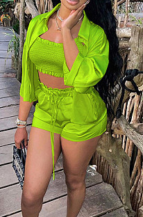 Neon Green Elastic Satin Wave Edge Spininess Rubber String Pull A Wrinkled Shirt Shorts Three Piece SZS8036-8
