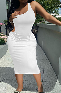 White Pure Color One Shoulder Back Hollow Out Screw Thread Midi Dress XQ1133-2