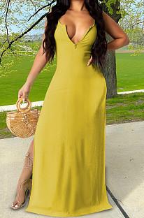 Yellow Sexy Zipper Low Cut Open Fork Long Dress KSN06002-1